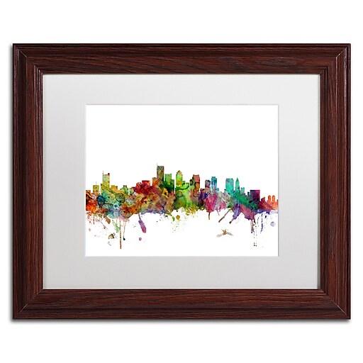 """Trademark Fine Art ''Boston Massachusetts Skyline'' by Michael Tompsett 11"""" x 14"""" White Matted Wood Frame (MT0551-W1114MF)"""