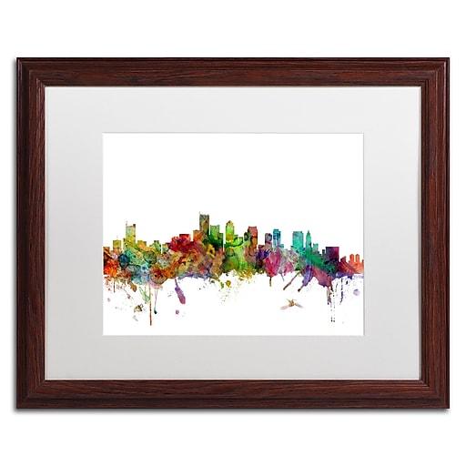 """Trademark Fine Art ''Boston Massachusetts Skyline'' by Michael Tompsett 16"""" x 20"""" White Matted Wood Frame (MT0551-W1620MF)"""