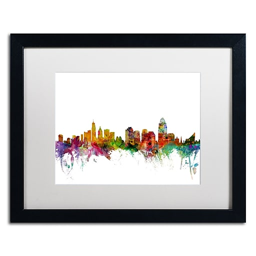 "Trademark Fine Art ''Cincinnati Ohio Skyline'' by Michael Tompsett 16"" x 20"" White Matted Black Frame (MT0552-B1620MF)"