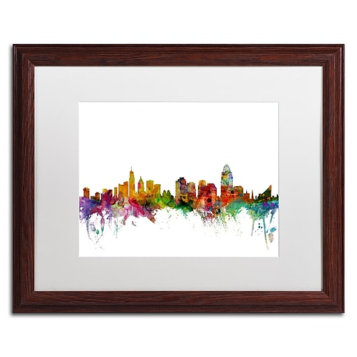 "Trademark Fine Art ''Cincinnati Ohio Skyline'' by Michael Tompsett 16"" x 20"" White Matted Wood Frame (MT0552-W1620MF)"
