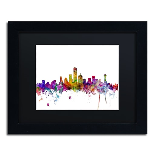 "Trademark Fine Art ''Dallas Texas Skyline'' by Michael Tompsett 11"" x 14"" Black Matted Black Frame (MT0555-B1114BMF)"