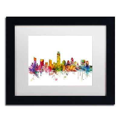 """Trademark Fine Art ''Austin Texas Skyline'' by Michael Tompsett 11"""" x 14"""" White Matted Black Frame (MT0556-B1114MF)"""