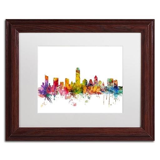 "Trademark Fine Art ''Austin Texas Skyline'' by Michael Tompsett 11"" x 14"" White Matted Wood Frame (MT0556-W1114MF)"
