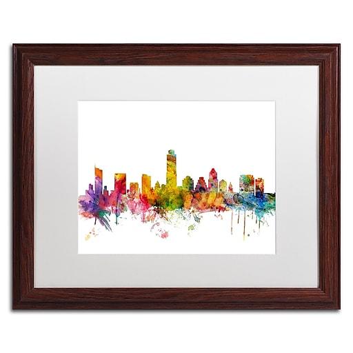 "Trademark Fine Art ''Austin Texas Skyline'' by Michael Tompsett 16"" x 20"" White Matted Wood Frame (MT0556-W1620MF)"