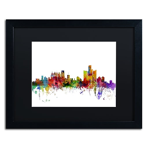 "Trademark Fine Art ''Detroit Michigan Skyline'' by Michael Tompsett 16"" x 20"" Black Matted Black Frame (MT0557-B1620BMF)"