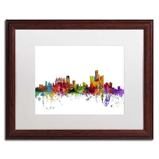 "Trademark Fine Art ''Detroit Michigan Skyline'' by Michael Tompsett 16"" x 20"" White Matted Wood Frame (MT0557-W1620MF)"