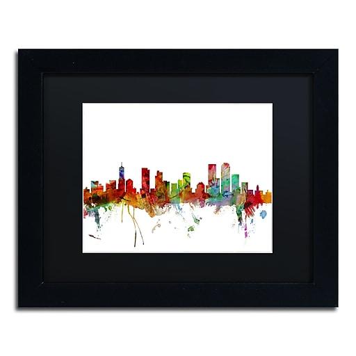 "Trademark Fine Art ''Denver Colorado Skyline'' by Michael Tompsett 11"" x 14"" Black Matted Black Frame (MT0558-B1114BMF)"