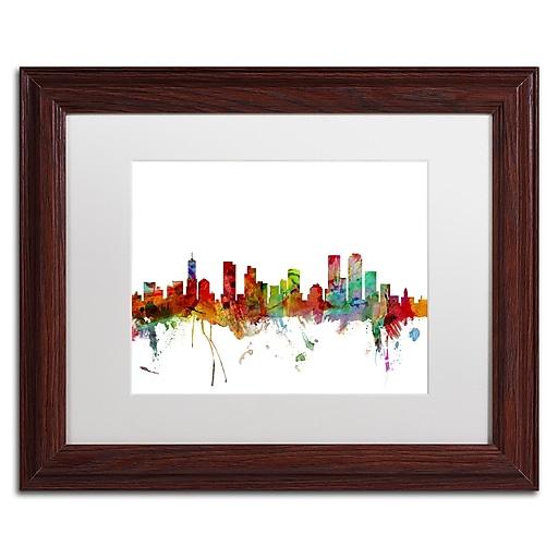 "Trademark Fine Art ''Denver Colorado Skyline'' by Michael Tompsett 11"" x 14"" White Matted Wood Frame (MT0558-W1114MF)"