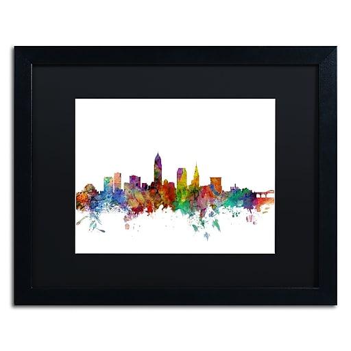 "Trademark Fine Art ''Cleveland Ohio Skyline'' by Michael Tompsett 16"" x 20"" Black Matted Black Frame (MT0559-B1620BMF)"