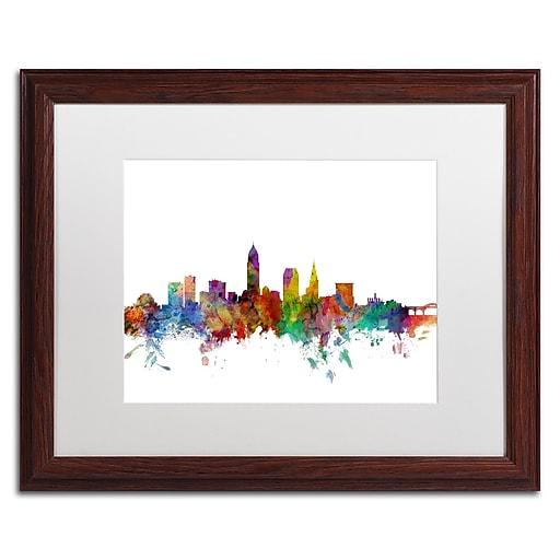 "Trademark Fine Art ''Cleveland Ohio Skyline'' by Michael Tompsett 16"" x 20"" White Matted Wood Frame (MT0559-W1620MF)"