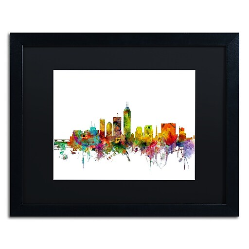 "Trademark Fine Art ''Indianapolis Indiana Skyline'' by Michael Tompsett 16"" x 20"" Black Matted Black Frame (MT0560-B1620BMF)"