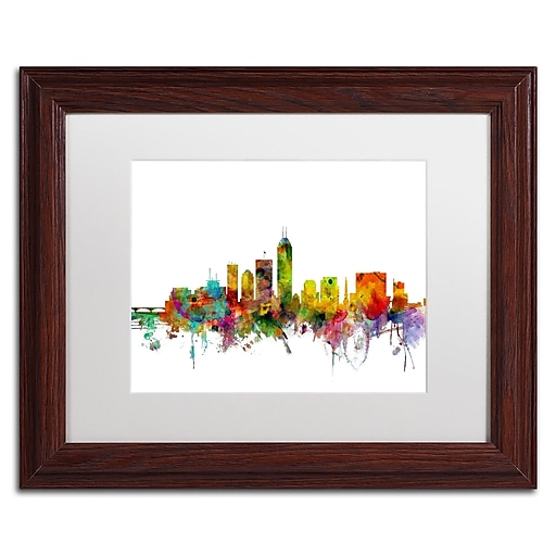 """Trademark Fine Art ''Indianapolis Indiana Skyline'' by Michael Tompsett 11"""" x 14"""" White Matted Wood Frame (MT0560-W1114MF)"""