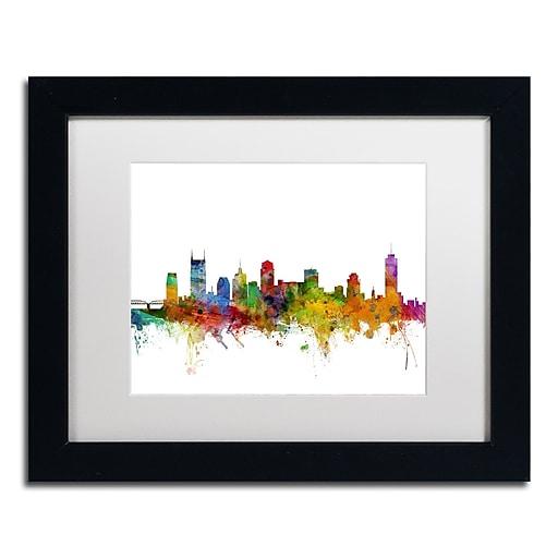 """Trademark Fine Art ''Nashville Tennessee Skyline'' by Michael Tompsett 11"""" x 14"""" White Matted Black Frame (MT0561-B1114MF)"""