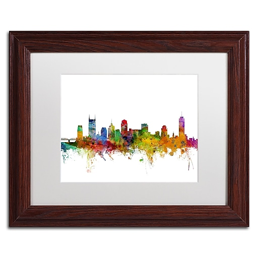"Trademark Fine Art ''Nashville Tennessee Skyline'' by Michael Tompsett 11"" x 14"" White Matted Wood Frame (MT0561-W1114MF)"