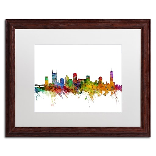 "Trademark Fine Art ''Nashville Tennessee Skyline'' by Michael Tompsett 16"" x 20"" White Matted Wood Frame (MT0561-W1620MF)"