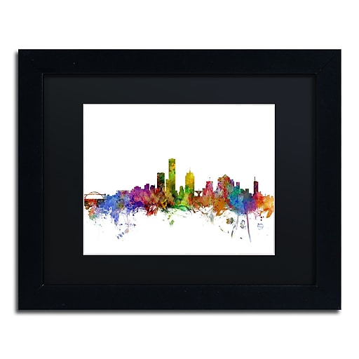 "Trademark Fine Art ''Milwaukee Wisconsin Skyline'' by Michael Tompsett 11"" x 14"" Black Matted Black Frame (MT0562-B1114BMF)"