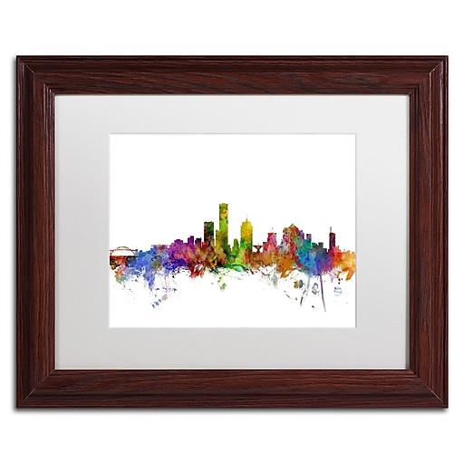"Trademark Fine Art ''Milwaukee Wisconsin Skyline'' by Michael Tompsett 11"" x 14"" White Matted Wood Frame (MT0562-W1114MF)"