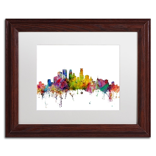 "Trademark Fine Art ''Minneapolis Minnesota Skyline'' by Michael Tompsett 11"" x 14"" Wood Frame (MT0563-W1114MF)"