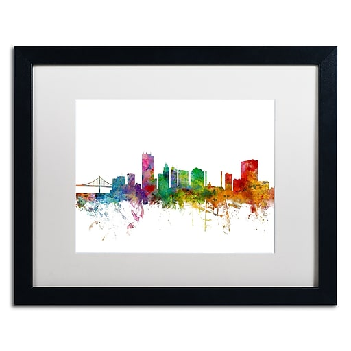 "Trademark Fine Art ''Toledo Ohio Skyline'' by Michael Tompsett 16"" x 20"" White Matted Black Frame (MT0564-B1620MF)"