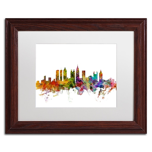 "Trademark Fine Art ''Atlanta Georgia Skyline'' by Michael Tompsett 11"" x 14"" White Matted Wood Frame (MT0566-W1114MF)"