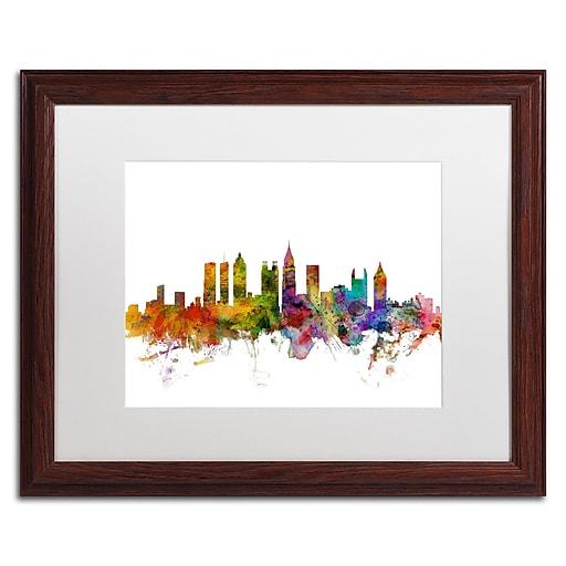 "Trademark Fine Art ''Atlanta Georgia Skyline'' by Michael Tompsett 16"" x 20"" White Matted Wood Frame (MT0566-W1620MF)"