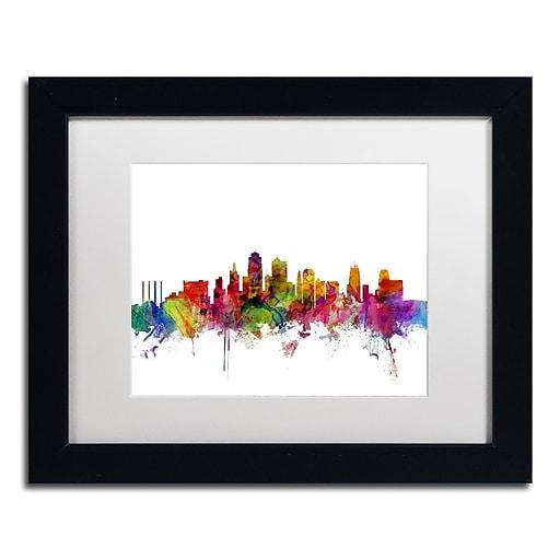 """Trademark Fine Art ''Kansas City Skyline'' by Michael Tompsett 11"""" x 14"""" White Matted Black Frame (MT0567-B1114MF)"""