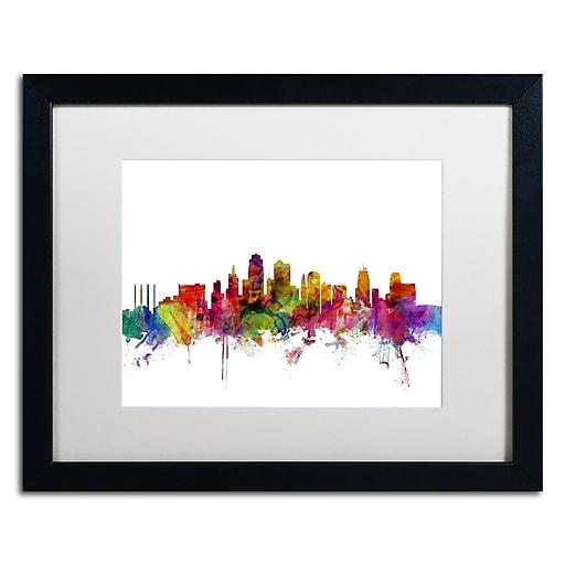 """Trademark Fine Art ''Kansas City Skyline'' by Michael Tompsett 16"""" x 20"""" White Matted Black Frame (MT0567-B1620MF)"""