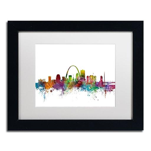"Trademark Fine Art ''St. Louis Missouri Skyline'' by Michael Tompsett 11"" x 14"" White Matted Black Frame (MT0568-B1114MF)"