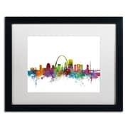 "Trademark Fine Art ''St. Louis Missouri Skyline'' by Michael Tompsett 16"" x 20"" White Matted Black Frame (MT0568-B1620MF)"