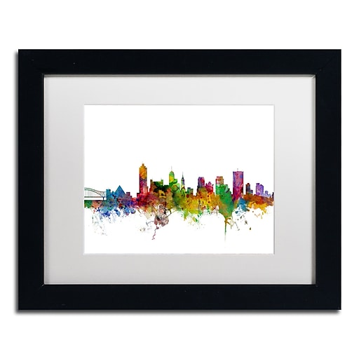 "Trademark Fine Art ''Memphis Tennessee Skyline'' by Michael Tompsett 11"" x 14"" White Matted Black Frame (MT0569-B1114MF)"