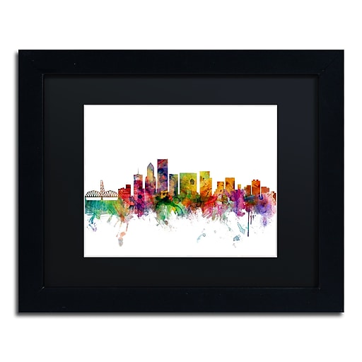 "Trademark Fine Art ''Portland Oregon Skyline'' by Michael Tompsett 11"" x 14"" Black Matted Black Frame (MT0570-B1114BMF)"
