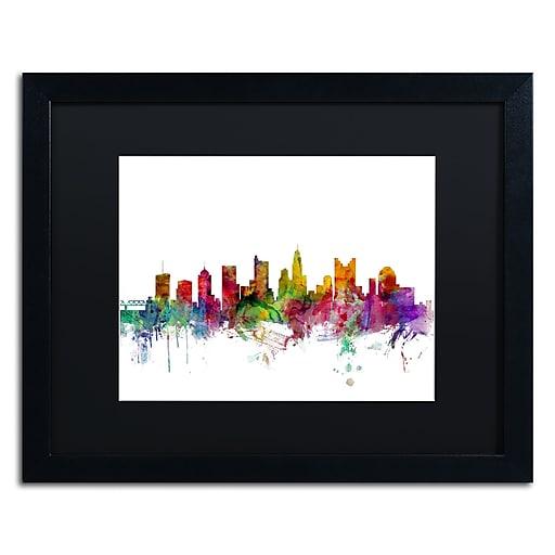 "Trademark Fine Art ''Columbus Ohio Skyline'' by Michael Tompsett 16"" x 20"" Black Matted Black Frame (MT0572-B1620BMF)"