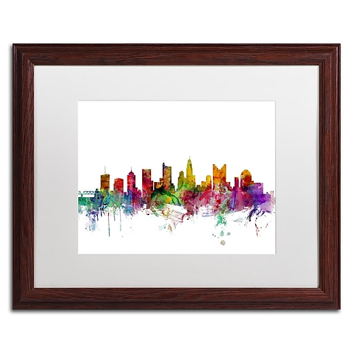 "Trademark Fine Art ''Columbus Ohio Skyline'' by Michael Tompsett 16"" x 20"" White Matted Wood Frame (MT0572-W1620MF)"
