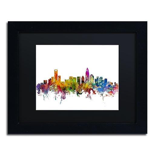 "Trademark Fine Art ''Charlotte North Carolina Skyline'' by Michael Tompsett 11"" x 14 Black Frame (MT0573-B1114BMF)"