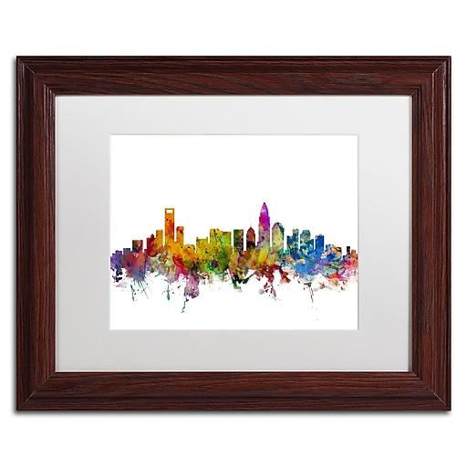 "Trademark Fine Art ''Charlotte North Carolina Skyline'' by Michael Tompsett 11"" x 14"" Wood Frame (MT0573-W1114MF)"