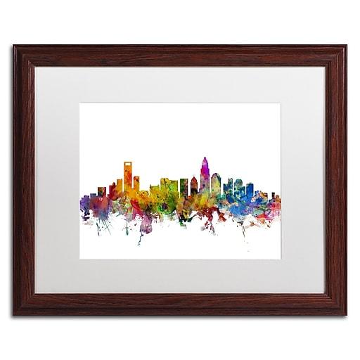 "Trademark Fine Art ''Charlotte North Carolina Skyline'' by Michael Tompsett 16"" x 20"" Wood Frame (MT0573-W1620MF)"