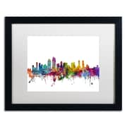 "Trademark Fine Art ''San Diego California Skyline'' by Michael Tompsett 16"" x 20"" White Matted Black Frame (MT0575-B1620MF)"