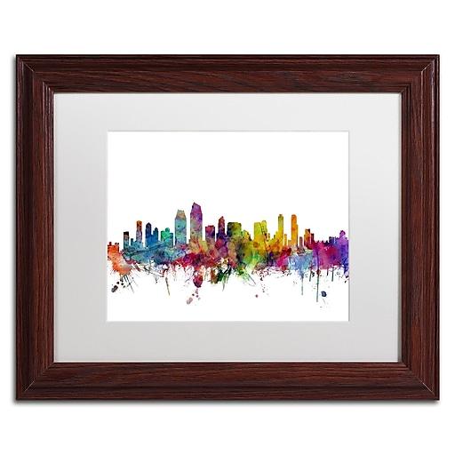 "Trademark Fine Art ''San Diego California Skyline'' by Michael Tompsett 11"" x 14"" White Matted Wood Frame (MT0575-W1114MF)"