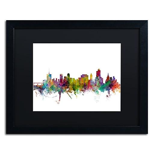 "Trademark Fine Art ''Tulsa Oklahoma Skyline'' by Michael Tompsett 16"" x 20"" Black Matted Black Frame (MT0576-B1620BMF)"
