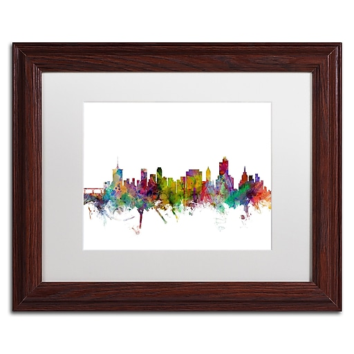 "Trademark Fine Art ''Tulsa Oklahoma Skyline'' by Michael Tompsett 11"" x 14"" White Matted Wood Frame (MT0576-W1114MF)"
