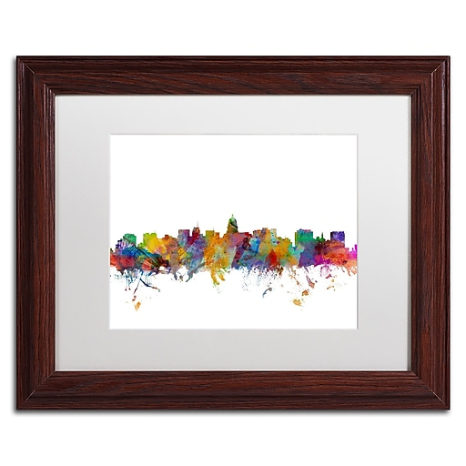 "Trademark Fine Art ''Madison Wisconsin Skyline'' by Michael Tompsett 11"" x 14"" White Matted Wood Frame (MT0577-W1114MF)"