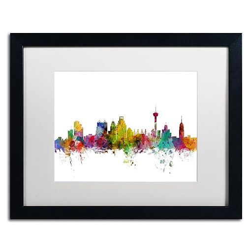 "Trademark Fine Art ''San Antonio Texas Skyline'' by Michael Tompsett 16"" x 20"" White Matted Black Frame (MT0579-B1620MF)"