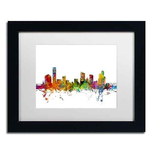 "Trademark Fine Art ''Grand Rapids Michigan Skyline'' by Michael Tompsett 11"" x 14"" White Matted Black Frame (MT0581-B1114MF)"