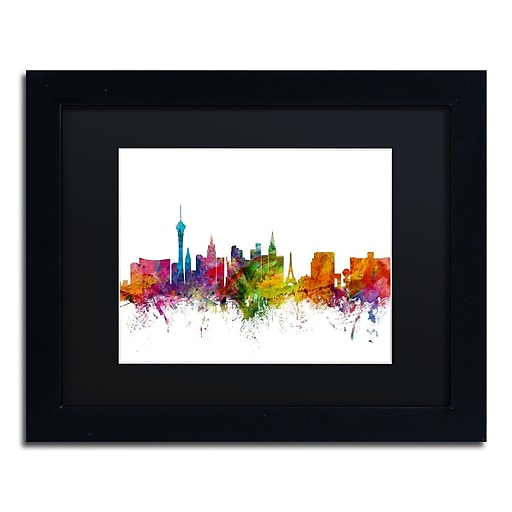 "Trademark Fine Art ''Las Vegas Nevada Skyline'' by Michael Tompsett 11"" x 14"" Black Matted Black Frame (MT0582-B1114BMF)"