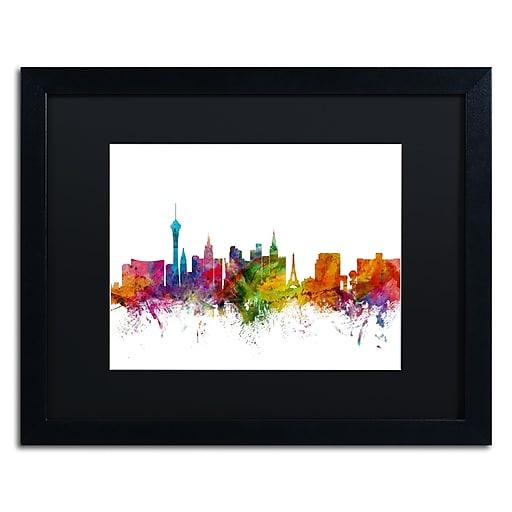 "Trademark Fine Art ''Las Vegas Nevada Skyline'' by Michael Tompsett 16"" x 20"" Black Matted Black Frame (MT0582-B1620BMF)"