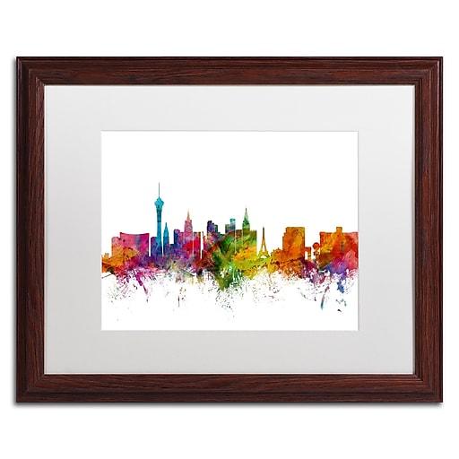 "Trademark Fine Art ''Las Vegas Nevada Skyline'' by Michael Tompsett 16"" x 20"" White Matted Wood Frame (MT0582-W1620MF)"