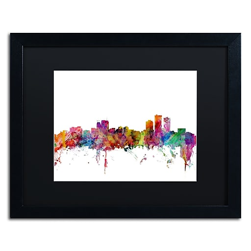 "Trademark Fine Art ''Anchorage Alaska Skyline'' by Michael Tompsett 16"" x 20"" Black Matted Black Frame (MT0583-B1620BMF)"
