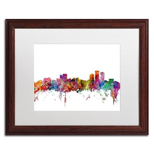 "Trademark Fine Art ''Anchorage Alaska Skyline'' by Michael Tompsett 16"" x 20"" White Matted Wood Frame (MT0583-W1620MF)"