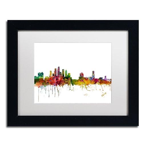 "Trademark Fine Art ''Tampa Florida Skyline'' by Michael Tompsett 11"" x 14"" White Matted Black Frame (MT0584-B1114MF)"