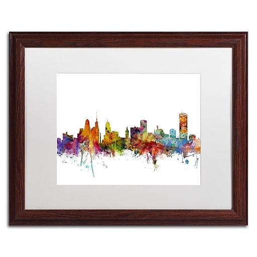 "Trademark Fine Art ''Buffalo New York Skyline'' by Michael Tompsett 16"" x 20"" White Matted Wood Frame (MT0585-W1620MF)"